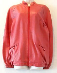 Ladies Vintage leather jacket Dark pink Medium Large