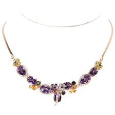 """REAL AMETHYST TOPAZ GANET CITRINE PERIDOT STERLING 925SILVER FLOWER NECKLACE 17"""""""