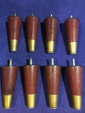 "8 Vintage Mid Century Modern Tapered 5"" Hard Brown Plastic Furniture Legs"