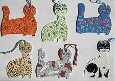 Set of 6 Unusual Helen Lang Die-Cut Cat Gift Tags by Courtier With Coloured Cord
