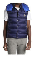 NEW Authentic Moncler Men Quilted Puffed Feather Vest Gilet Blue Logo 50 M $1225