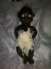 Antique Black Bisque Jointed Baby Doll Japan Three Tufts W/ Ribbons