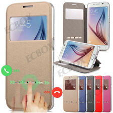Deluxe Folio Window Flip PU Leather + TPU Case Stand Cover For Samsung & iPhone