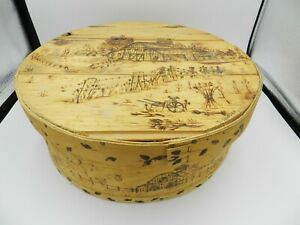 Vintage Dufeck's Denmark WI Round Cheese Box Farm Scene Hand Tooled/Painted