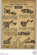 1948 PAPER AD Structo Buddy L Toy Trucks Dump Steam Shovel Tow Wrecker Truck