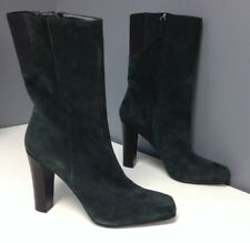 SCORAH PATTULLO NWOT Green Suede Black Elastic Side Ankle Boots Sz 39.5 B4363