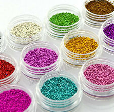 Fashion 3D 12 Colors 1mm Metal Caviar Beads Nail Art Gems Rhinestones Decoration