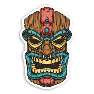 2 x 10cm Angry Tiki Head Vinyl Stickers - Hawaiian Hawaii Sticker #70041