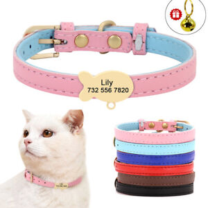 Soft Leather Cat Collar Personalised Fish ID Pet XS Small Dogs Walking Collar