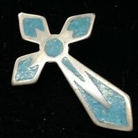 Vintage Sterling Silver Brooch Pin 925 Cross Turquoise