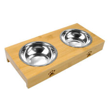 Double Bowl Dog Feeder Raised Bowls Set Pet Supplies Stainless Steel Wooden Base