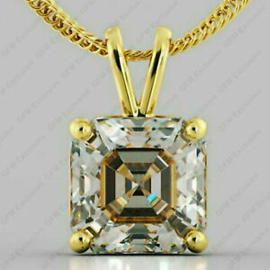 3.00 Ct Asscher Cut Moissanite 4 Prong Solitaire Pendant/No chain In Yellow Gold
