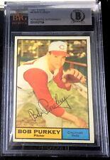 1961 TOPPS #9 BOB PURKEY RARE BAS BECKETT SIGNED CARD AUTOGRAPHED AUTO !
