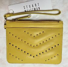 STUART WEITZMAN Canary Yellow Glove Calf Leather Small Zip Pouch Clutch $175 NWT