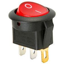 SPST Round Rocker Switch w/Red Illumination 125VAC