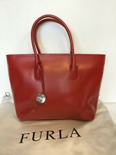 FURLA RED LEATHER COATED TOTE BAG