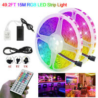 15M 10M 5M 300 LED 3528 RGB SMD Strip Light 12V 44 Key Remote Controller Adapter