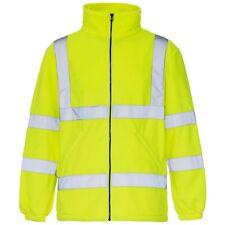 Hi Vis Viz Visibility Fleece Jacket Rain Patch Zip Safety Work Mens Warm Top