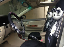 ** 18 Piece Black and White Polka Dot Hello Kitty Car Seat Covers **