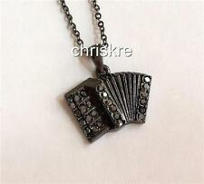 "Silver Crystal Accordion Music Necklace 18"" Plated Black Gift Instrument USA"