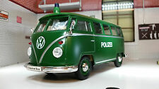 G LGB 1:24 Escala Welly VW T1 Samba Policía politzei modelo fundido Furgoneta