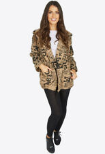 Womens Camel Doodle Slouch Front Pockets Drawstring Tie Coat