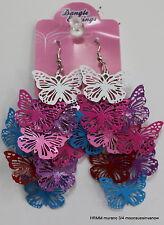 Blue White Butterfly Fun Wacky Bright Beautiful Dangle Earrings Unique Red Pink