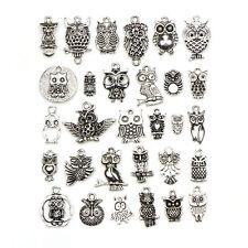 30pcs Tibetan Silver Color Owl Pendant Charm Set for DIY Handmade Jewelry Making
