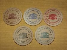 VINTAGE 1820-1970 TOWN OF ROTTERDAM SESQUI_CENTENNIAL 5 SOUVENIR  WOODEN NICKLES