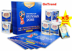Panini 2018 FIFA World Cup Sticker Collection, New Album +5 Packs (25 Stickers)