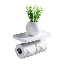 CRW Bathroom Double Toilet Tissue Paper Roll Holder With ABS Shelf Wall Mounted