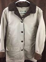 Women's Vintage LL Bean Canvas Barn Ranch Sherpa Jacket Small Beige Warm