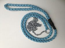 Light Blue All In One Dog Show Lead Fine Slip  Choke Chain Strong Braid Paracord