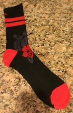 QUIKSILVER Mens Crew Socks HyperDry Performance Red/Black Floral L (6-12.5) New