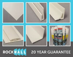 ROCKWALL PVC Hygienic 8 x 4 wall cladding and 8 foot fixing trims - WHITE