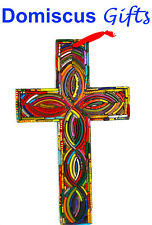 "10"" New! Large Multi-Color Wall Cross Religious Christian Home Decor Hand Made"