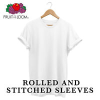 Fruit Of The Loom Plain T Shirt Unisex Holiday Cotton Unisex Rolled Sleeves