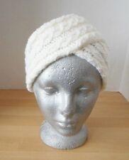 Vintage Knitted / Crocheted Women's Winter Turban Hat Off White 1960's - 70's