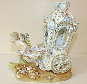 Antique Dresden Porcelain Angel Pulling A Chariot - A/F wing has been restuck
