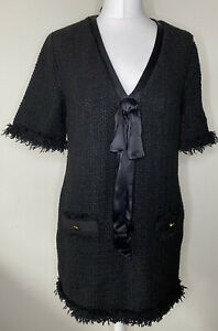 Zara Woman Black Boucle Tweed Dress V-neck Bow Front Size M Pockets Gold Buttons