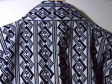Japanese Kimono Clothing Cotton Yukata Robe Tsunagi Chain Pattern Indigo/Gray