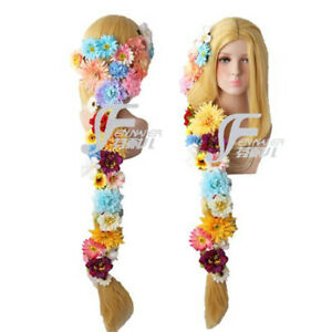 Gold girl long straight middle parting hair cosplay wig Daily Role Clothing