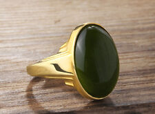 Mens Ring in Solid 14K Fine Yellow Gold with Green GENUINE AGATE Gemstone all sz