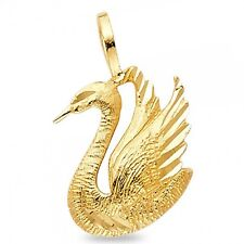 14k Yellow Gold Swan Pendant Bird Charm Diamond Cut Polished Solid Genuine