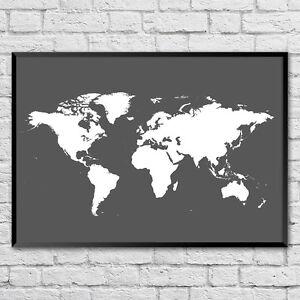 World Map Poster Print   Choose a colour!    8x10 A4 A3