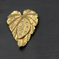 Vintage Antique Pressed Tin Gold Toned Leaf Rhinestone Brooch Pin a42