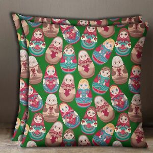 2 Pcs Square Cushion Cover Russian Doll Print Cotton Poplin Green Pillow Case
