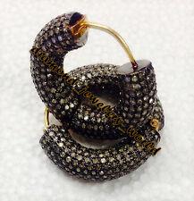 Silver Amazingly Hoops Earring Jewelry Victorian Vintage 6.12ts Rose Cut Diamond