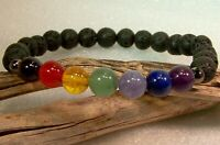 Natural LAVA Bead Diffuser CHAKRA Meditation Scent Bracelet Yoga Essential Oil