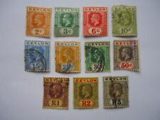 Ceylon KGV 1912-25 SG307,302,309-317 2c-R5 Used